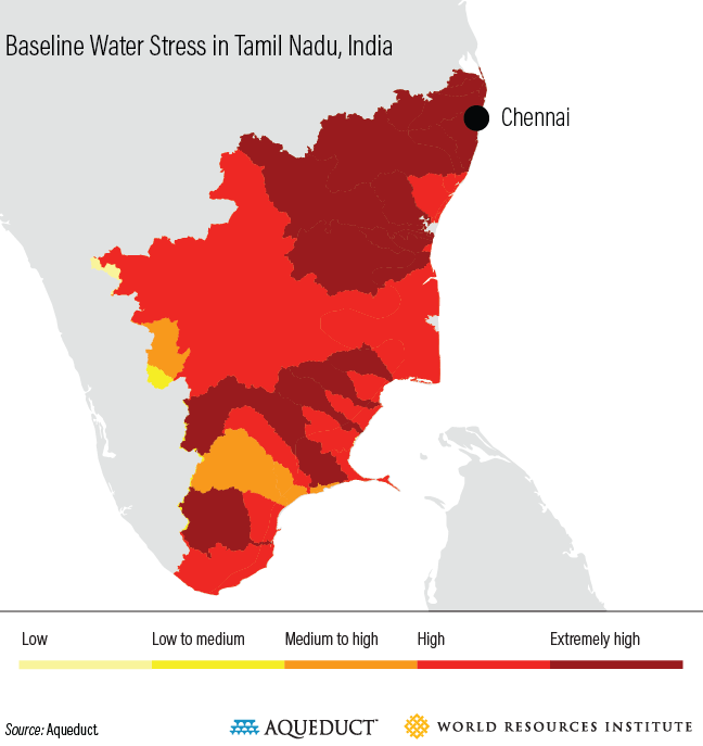 Baseline water stress in Tamil Nadu, India