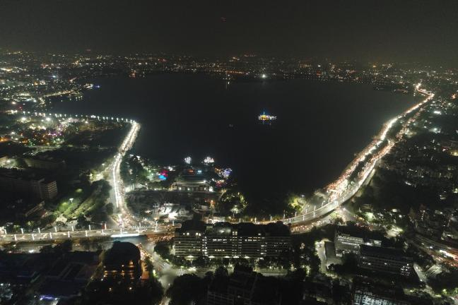 Night view of a vibrant Hussain Sagar Lake, Hyderabad Credit: WRI India