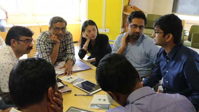 Karnataka State Road Transport Corporation discussing ideas proposed by start-ups for augmentation of bus systems at Better Bus bootcamp. Photo: WRI India