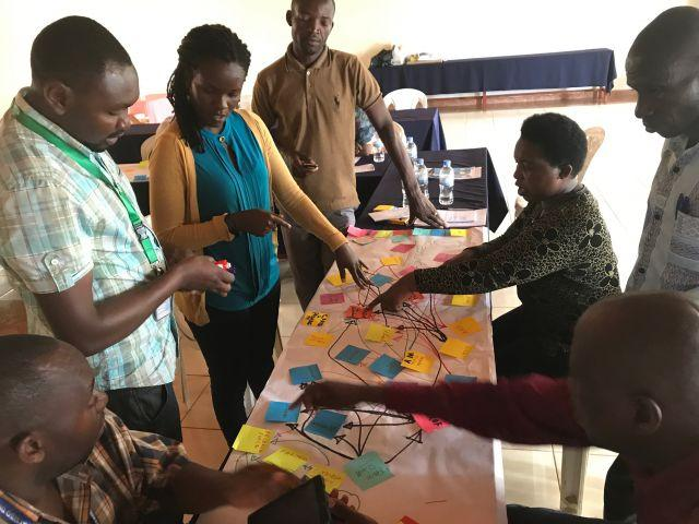 Gatsibo District Forest Officer, agronomists and farmer representatives participate in a social network analysis workshop. Credit: WRI/Kathleen Buckingham